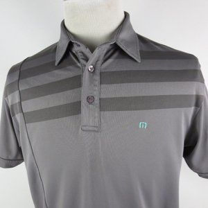 Travis Mathew Medium Golf Polo Shirt Stripes Mesh